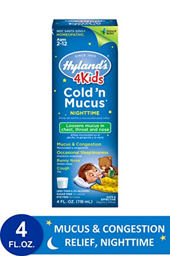 Kids Cold and Mucus Liquid, Night Time Congestion Relief for Children, by Hyland's 4Kids, 4 Ounce (Packaging May Vary)