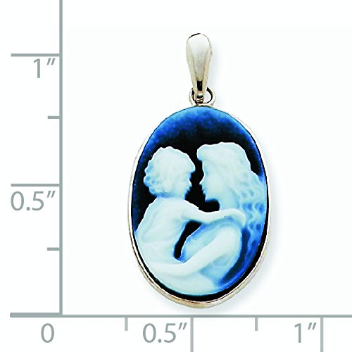 Or blanc 14 carats Cœur avec pendentif en Agate-JewelryWeb