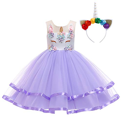 Unicorn Birthday Party Dress Headband 2PCS Outfit Flower Appliques Beads Tulle Dress Fair Tale Halloween Christmas Holiday Fancy Costume Dress Up Purple with Headband 9-10 Years ()