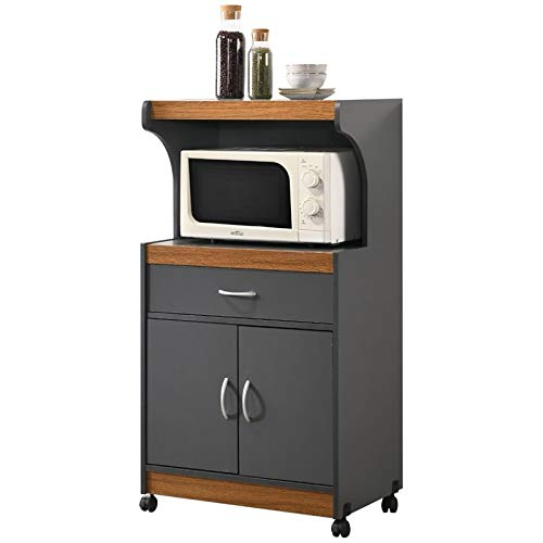 Pemberly Row Microwave Kitchen Cart in Gray Oak