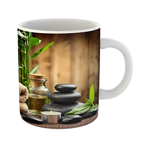 Emvency Coffee Tea Mug Gift 11 Ounces Funny Ceramic Green Massage Zen Basalt Stones and Spa Oil Wood Ayurvedic Gifts For Family Friends Coworkers Boss Mug