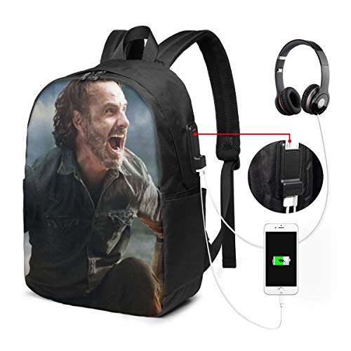 Qmad Women's The Walking Dead Season 8 Characters Super Heavy And Heavy Durable USB Bags For Working -  Qmad Co.Ltd, QMA-USBbackpack17-65772673-Black-48