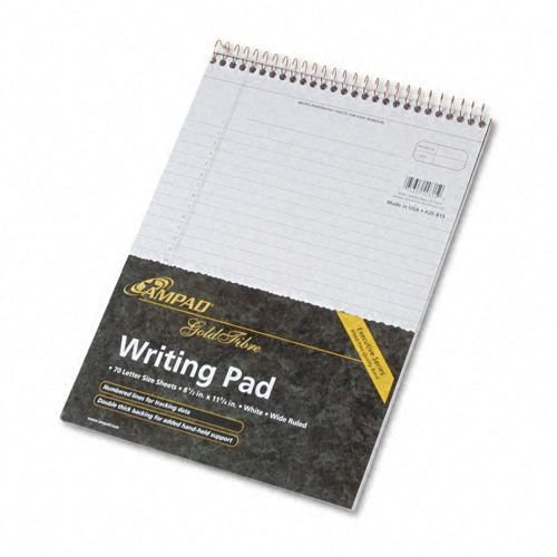 Ampad Gold Fibre Wirebound Legal Pad, Legal/Wide Rule, Letter, White, 70 Sheets (Wirebound Rule)
