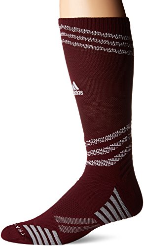 adidas Speed Mesh Basketball/Football Team Crew Socks (1-Pack), Maroon/White/Dark Burgundy/Light Onix, Large