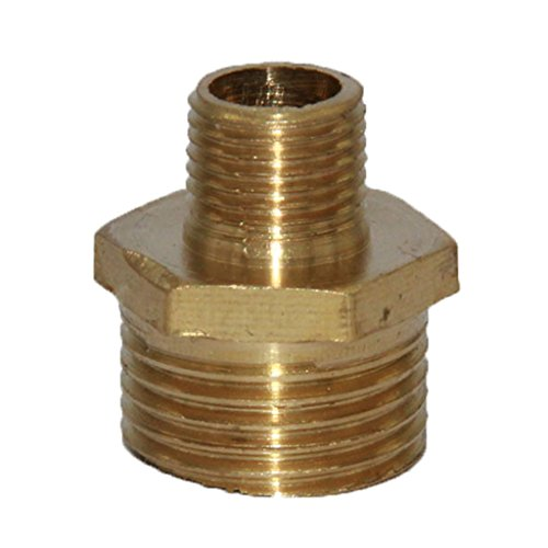 Homyl Double Headed Brass Connector Adapter Reducer Straight Treaded Garden Hose Fitting 6Sizes - 3-8 to 1-8, as described