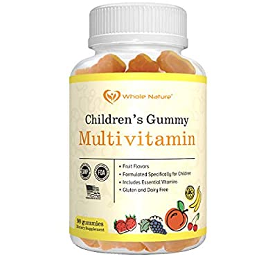 WHOLE NATURE Kids Gummy Multivitamin - Complete Daily Essentials Childrens Vitamins and Minerals for Overall Wellness, 90 Gummies. Fruit Flavor, No Artificial Sugar, Dairy and Gluten Free