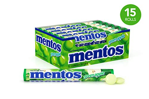 Mentos Chewy Mint Candy Roll, Green Apple, Party, Non Melting, 1.32 ounce/14 Pieces (Pack of 15)