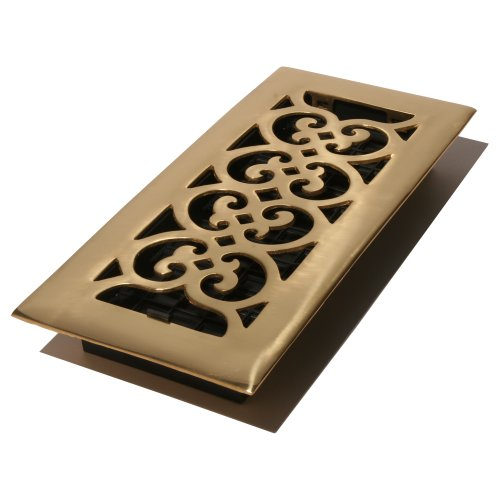 Solid Brass Wall Register - Decor Grates HS212 2-Inch by 12-Inch Scroll Floor Register, Solid Brass