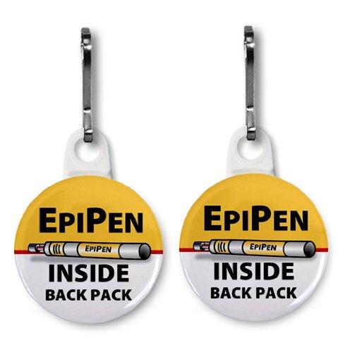 (EPIPEN INSIDE Back Pack Medical Alert 2-Pack White 1 inch Zipper Pull Charms)