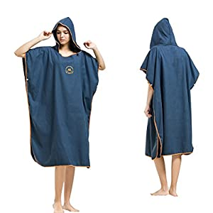 Microfiber Surf Beach Wetsuit Changing Towel Bath Robe Poncho with Hood-One Size Fits All