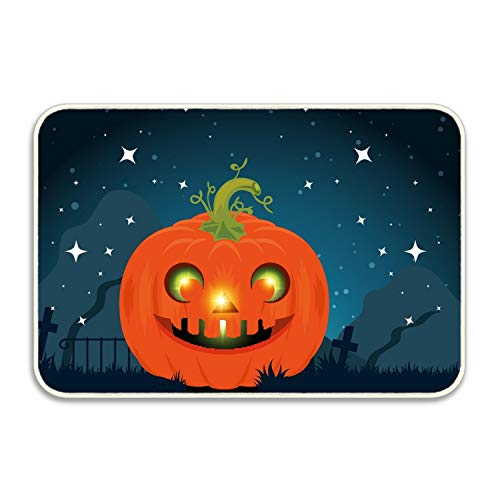 Ranhkdn Non Slip Backing Doormat Happy Halloween Pumpkins Printed Indoor/Outdoor/Front Door/Bathroom Entrance Mat Rugs