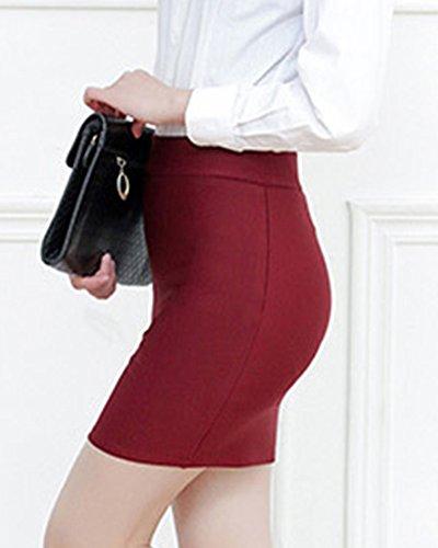 Taille Grande Jupe Taille Fourreau Courte Femme Haut Rouge Moulante Vin Jupe qfd5n4