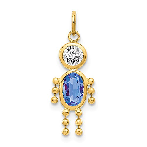 (14k Yellow Gold September Boy Birthstone Pendant Charm Necklace Kid Fine Jewelry Gifts For Women For Her)