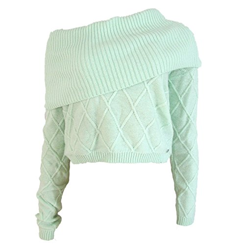Guess Women's Long Sleeve Cropped Cowl-Neck Sweater Simply Mint (Medium)