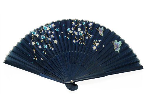 Japanese Design Silk Handheld Folding Fan, Dark Blue w/Flowers, Golden Stems and Butterflies HF-225 (Hot Navy Women)
