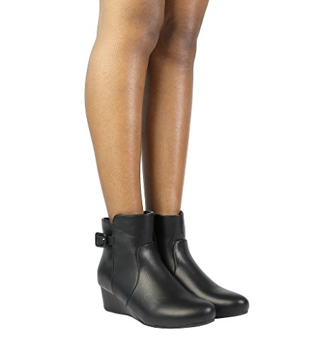 DREAM PAIRS Damen Niedrige Keilabsatz Ankle Booties Schwarz Pu