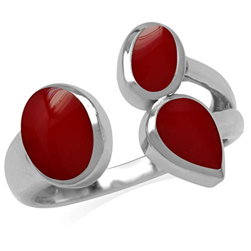 - Created Red Coral Inlay White Gold Plated 925 Sterling Silver Cluster Open Front Ring Size 6
