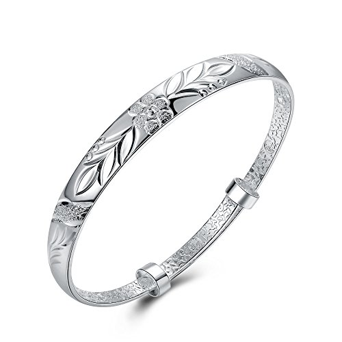SOMUNS Flower Simple 925 Sterling Silver Plated Bangle Bracelet,Fashionable Flower Pattern Chain Bracelet Gift for Woman, Valentine's Day Mother's Day