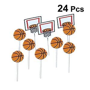 Amosfun 24 unids patrón de Baloncesto de Dibujos Animados Cake Toppers Sport Party Cupcake Toppers Selecciones Niños Cumpleaños Fiesta Familiar ...