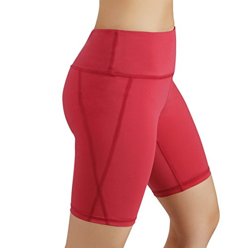 ODODOS by Power Flex Women's Tummy Control Workout Running Shorts Pants Yoga Shorts With Hidden Pocket, Coral, X-Large