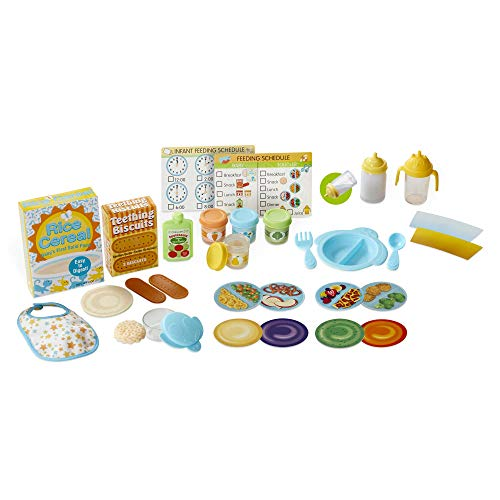 Melissa & Doug Mine to Love Mealtime Play Set for Dolls with Bottle, Pretend Baby Food Jars, Snack Pouch, More (24 Pcs), Multicolor