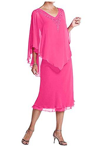Charmant Chiffon Damen Partykleider Festlichkleider Dunkel Pink ausschnitt Abendkleider Brautmutterkleider V Wadenlang rpnr4qwSWa
