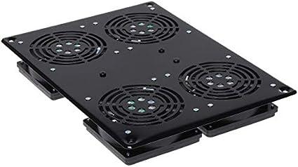 Techly I-Case FAN-4FPBK Accesorio de Bastidor Panel del Ventilador - Accesorio de Rack (Panel del Ventilador, Negro, SPCC, 4 Ventilador(es), 19