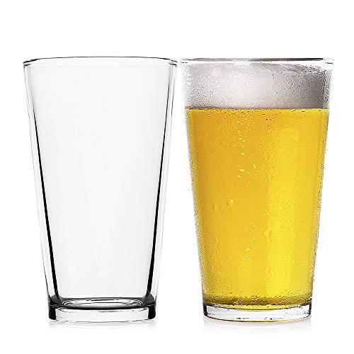 LUXU Classic Beer Pint Glasses(16 oz),Premium Pub Beer Glasses with Thick Base,Versatile Cocktail Shaker Beer Glass…
