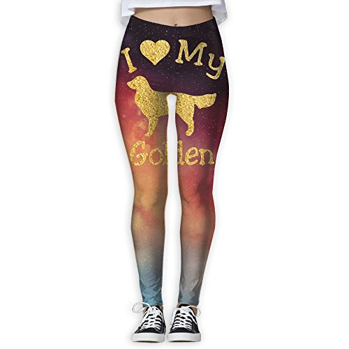 (I Love My Golden Retriever Women's Stretchable Sports Running Yoga Workout Leggings Pants L)