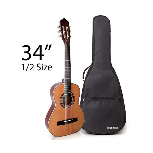 Classical Guitar with Soft Nylon Strings by Hola! Music, Half 1/2 Size 34 Inch for Junior Kids Model HG-34GLS, Natural Gloss Finish – FREE Padded Gig Bag Included 41Js 2BB 2BqIAL