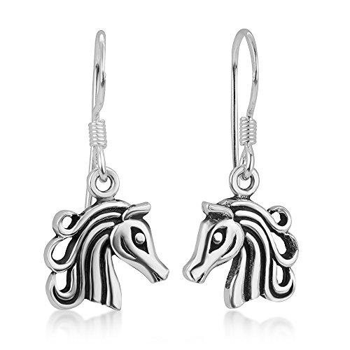 925 Oxidized Sterling Silver Open Filigree Detailed Horse Head Dangle Earrings 1.3