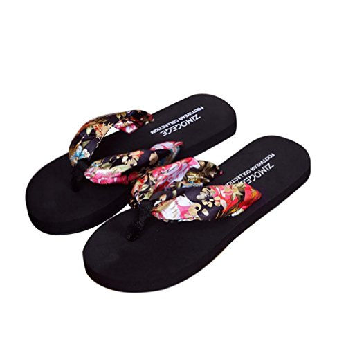 Ouneed® Damen Sandalen ,Frauen Sommer Blumen Sandalen Slipper Indoor Outdoor Flip-Flops Beach Schwimmbad Schuhe Schwarz