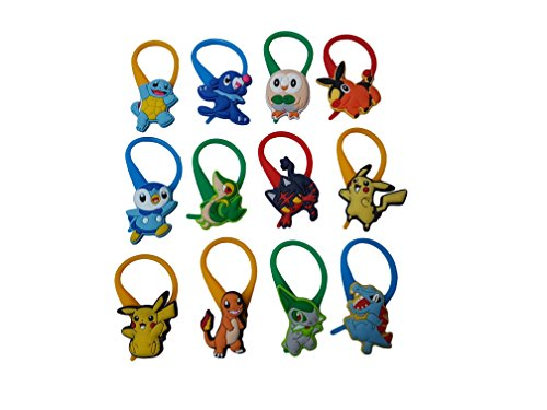 AVIRGO 12 pcs Colorful Soft Clothes And Bags Decoration Zipper Pull Keyring Carabiner Set # 116 - 4 - Calem Pokemon Costume