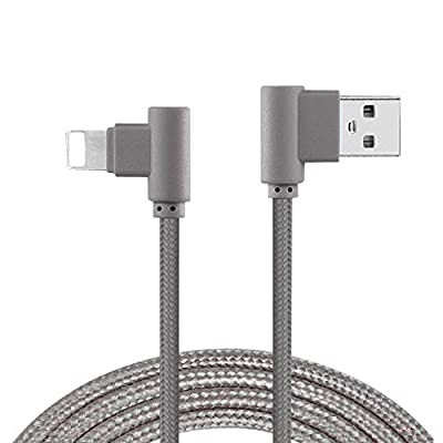 iPhone Charger Cable,Lively Life Right Angled Lightning to USB Charger Cable Fast Speedy Charging & Data Sync Cable Adapter Metal Plug Nylon Braided Cord for iOS iPhone(1m/3ft,Gray)