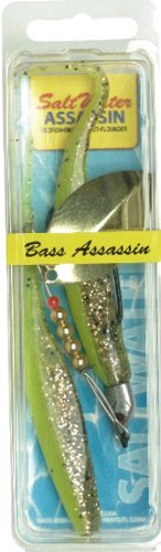 Bass Assassin Saltwater 5 Mac Daddy Spinner-Pack of 2, Chartreuse Flash/Space Guppy, 1/8 Oz. ()