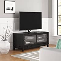 TV Stand for TVs up to 55, Black, Fits Most Flat Panel TVs up to 55, Contemporary Clean Line Aesthetics, 4 Bays and 2 Adjustable Shelves Bundle with Expert Guide for Better Life