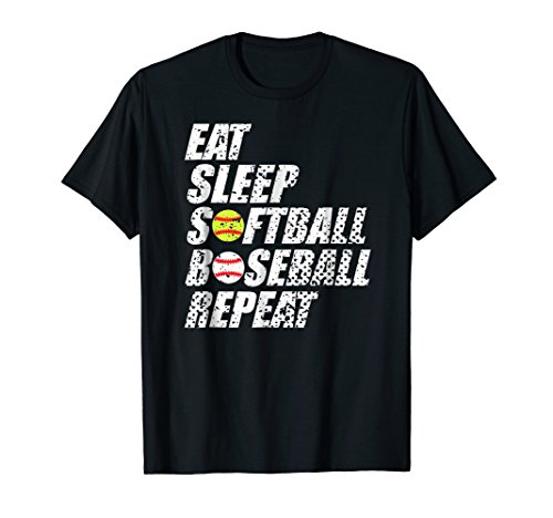 Softball Baseball Repeat Shirt Cool Cute Gift Ball Mom Dad
