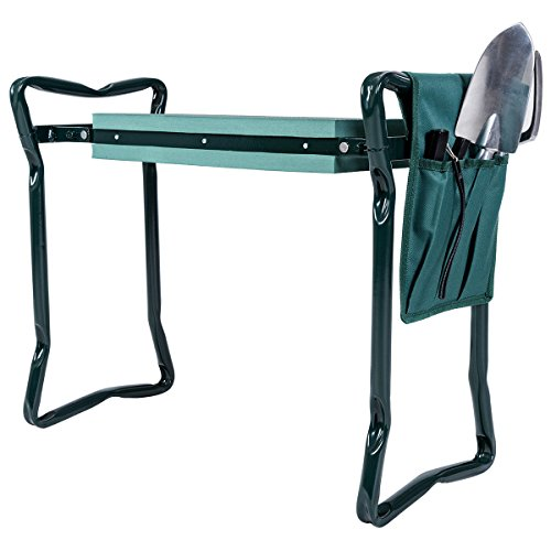 Goplus Folding Garden Kneeler Bench Heavy Duty Gardener Kneeling Pad Cushion with Tools Pouch