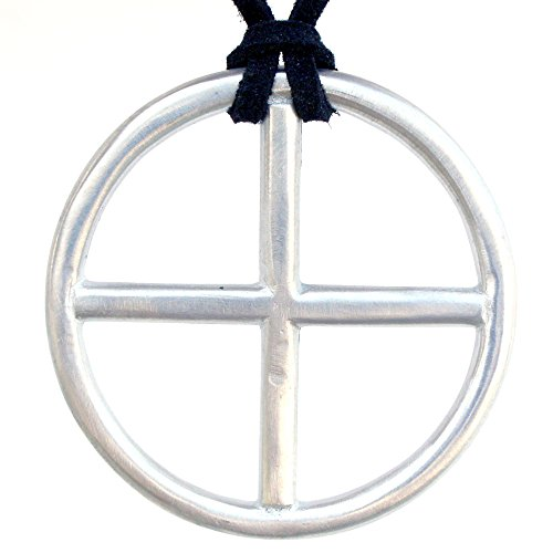 Antique Silver Earth Nordic Medieval Sun solar cross pewter pendant w black suede - Sun Cross