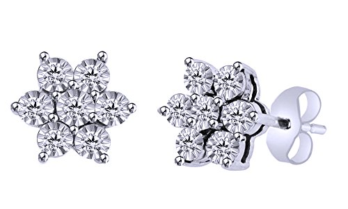 (Mothers Day Jewelry Gifts Round Cut White Natural Diamond Flower Stud Earrings In 14K White Gold Over Sterling Silver (0.10 Ct))