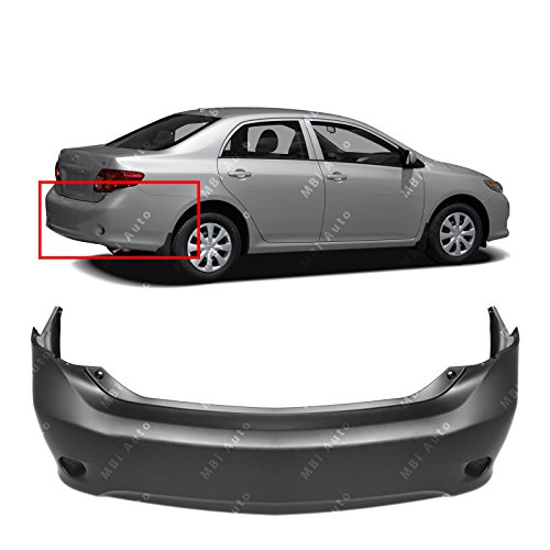 MBI AUTO - Primered, Rear Bumper Cover for 2009 2010 Toyota Corolla Sedan 09 10, TO1100264