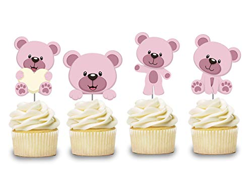 - Pink Teddy Bear Cupcake Toppers 12 pcs, Girl Cake Picks Birthday Decoration Party Supplies, Pink Baby Shower Themed Celebration