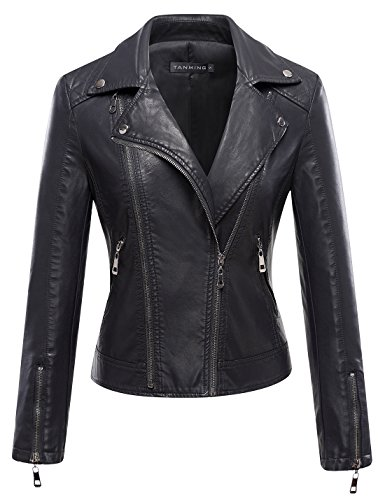 (Tanming Women's Christmas Faux Leather Jacket Moto Biker Short Coat (XX-Large,)