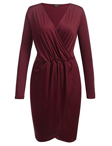 ACEVOG Damen Sexy kleid Etuikleid Knielang Elegantes Kleid mit V-Ausschnitt Bleistiftkleid Business Kleid Cocktailkleid Wickelkleid Weinrot 3