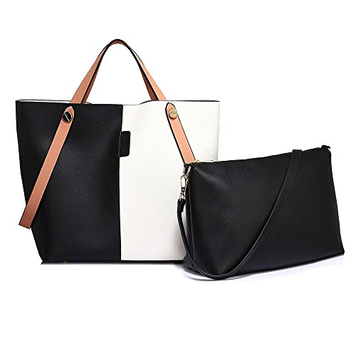 Leather 2 of Classic Great Capacity Purse Tote matching shoulder Handbag Woman Handbags in both bag Black Ladies shoulder Ladies with Large purse and set Faux set bag White piece Tote combination zOnvvFxq