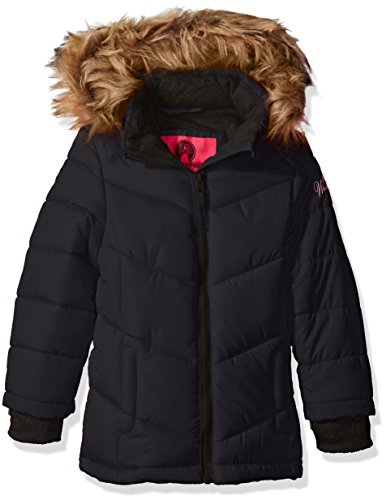 Weatherproof Big Girls' Bubble Jacket with Terry Fleece Lining, Black, 10/12