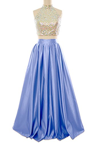 MACloth Women Two Piece High Neck Long Prom Homecoming Dress Evening Ball Gown Cielo azul