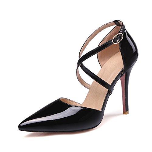 ZHZNVX Nuevo sandalias sexy hebilla cruzada sandalias paquete de color rosa amarillo negro con zapatos de charol Black