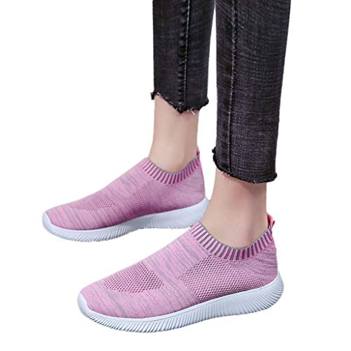 en Outdoor Mesh Solid Color Sports Shoes Runing Breathable Shoes Pink ()