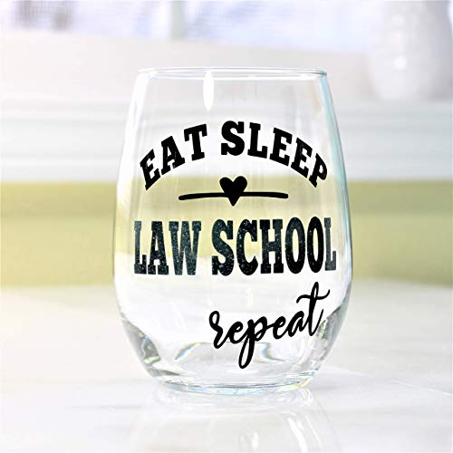 Funny Law School Acceptance Gifts for Women New law Student Stemless Wine Glass 0214
